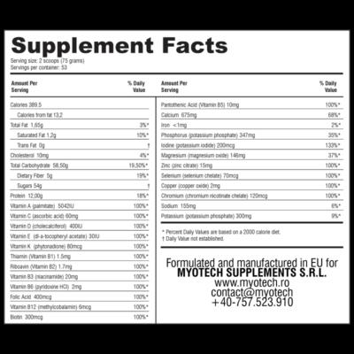 proteine și carbohidrați MYO MASS