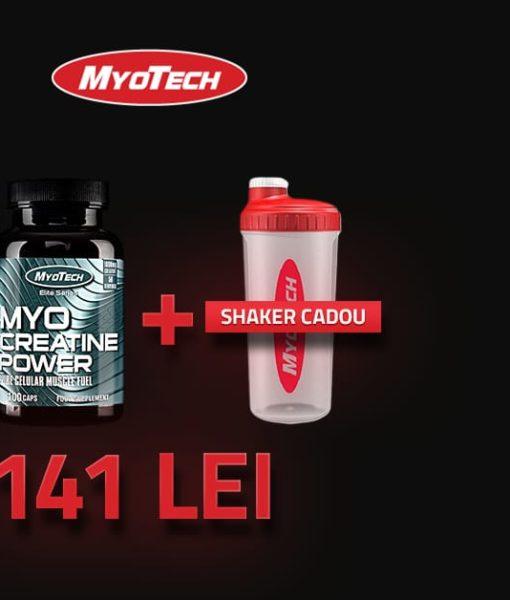 Pachet Promo: Myo Mass 4.5kg, Creatine 100 Capsule si Shaker Cadou