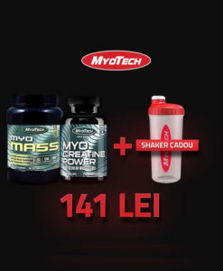 Pachet Promo Myotech Myo Mass 4.5kg Creatine 100 Capsule si Shaker Cadou